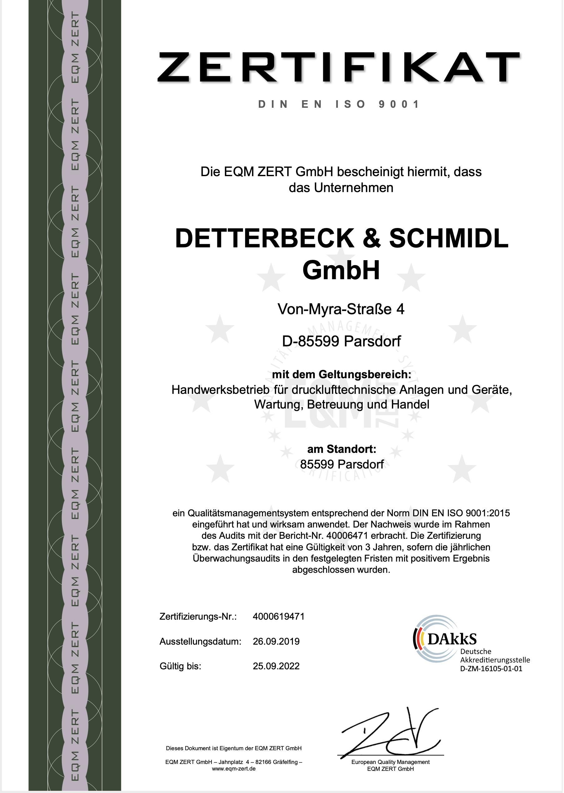 ISO 9001 Zertifikat 2019-2022